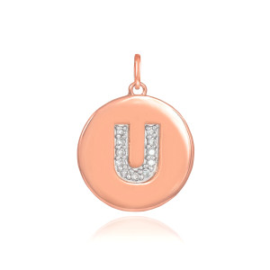 "14k Rose Gold Letter ""U"" Initial Diamond Disc Pendant Necklace"