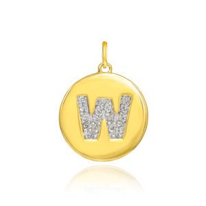 "Gold Letter ""W"" Initial Diamond Disc Pendant Necklace"