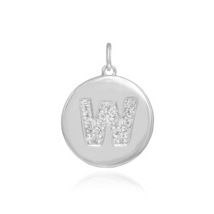 """White Gold Letter """"W"""" Initial Diamond Disc Pendant Necklace"""