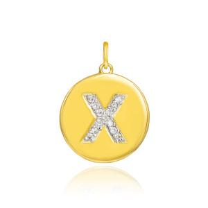 "Gold Letter ""X"" Initial Diamond Disc Pendant Necklace"