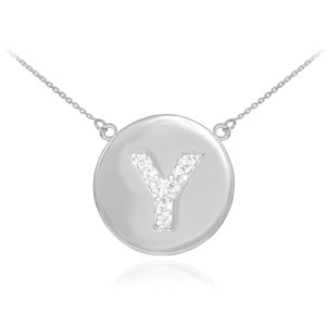 """14k White Gold Letter """"Y"""" Initial Diamond Disc Necklace"""