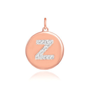 "14k Rose Gold Letter ""Z"" Initial Diamond Disc Pendant Necklace"