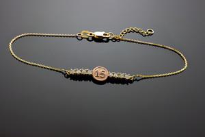 15-Anos Quinceanera 14k Gold CZ Bar Bracelet