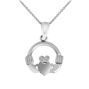 White Gold Claddagh Necklace Pendant