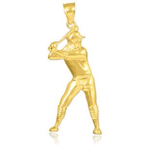 Gold Baseball Batter Sports Charm Pendant