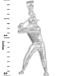 Silver Baseball Batter Sports Charm Pendant