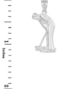 White Gold Golfer Sports Charm Pendant