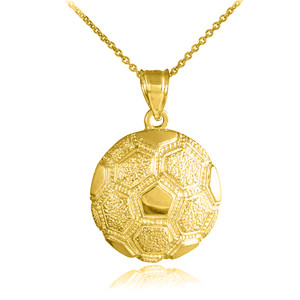 Gold Textured Soccer Ball Sports Pendant Necklace