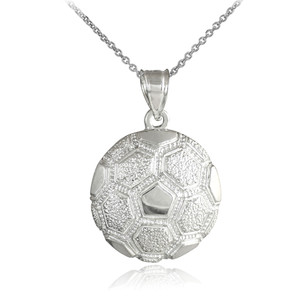 White Gold Textured Soccer Ball Sports Pendant Necklace