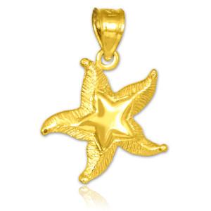 Gold Textured Starfish Pendant