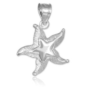White Gold Textured Starfish Pendant