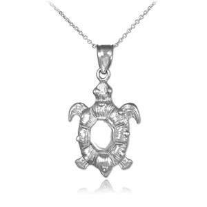 White Gold Sea Turtle Pendant Necklace