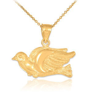Gold Flying Dove Pendant Necklace