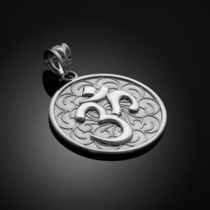 White Gold Om Medallion Pendant