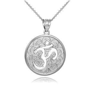 White Gold Om Medallion Pendant Necklace