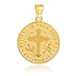 Gold Reversible Graduation Medallion Charm Pendant