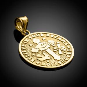 Gold Reversible Christian Graduation Medallion Charm Pendant
