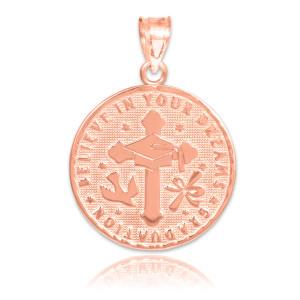 Rose Gold Reversible Graduation Medallion Charm Pendant