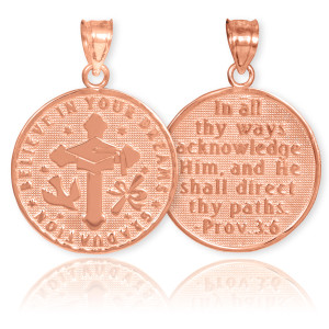 Rose Gold Reversible Catholic Graduation Medallion Charm Pendant