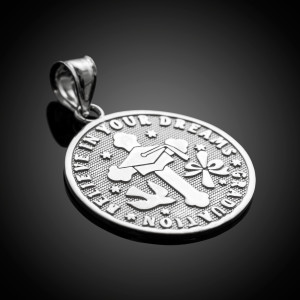 Silver Reversible Christian Graduation Medallion Charm Pendant