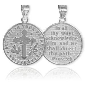 Silver Reversible Catholic Graduation Medallion Charm Pendant