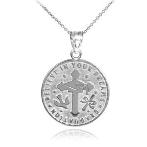 Silver Reversible Graduation Medallion Charm Pendant Necklace