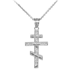 Silver Russian Orthodox Cross Pendant Necklace