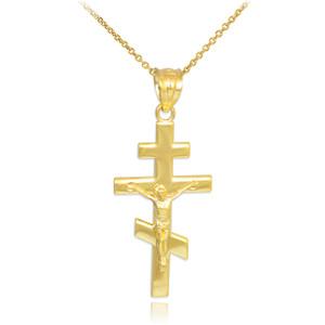 Gold Russian Orthodox Crucifix Pendant Necklace