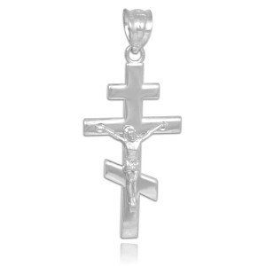 White Gold Russian Orthodox Crucifix Pendant