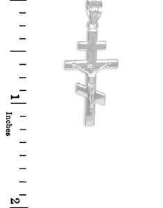 White Gold Byzantine Orthodox Crucifix Pendant