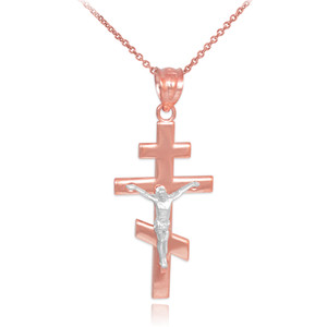 Two-Tone Rose Gold Russian Orthodox Crucifix Pendant Necklace
