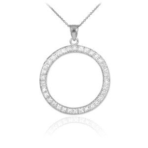 14K White Gold Eternity Circle of Life Diamond Pendant Necklace