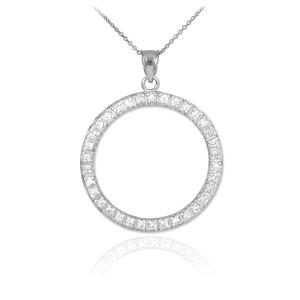 14K White Gold Eternity Circle of Life CZ Pendant Necklace