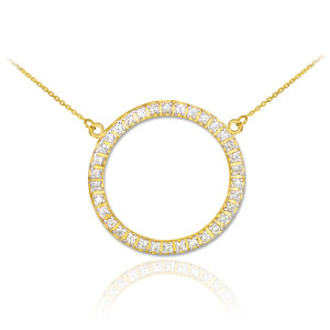 14K Gold Eternity Circle of Life CZ Necklace