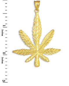 Gold Marijuana Leaf Cannabis Pot Pendant