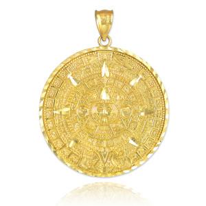 Gold Aztec Mayan Sun Calendar Pendant