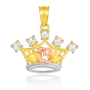 Tri-tone Gold Quinceanera Crown CZ Pendant