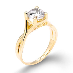 Gold Infinity Band CZ Solitaire Engagement Ring
