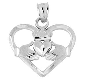 White Gold Heart Shaped Claddagh Pendant