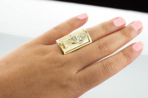 Two-tone Gold Santa Muerte Grim Reaper Fancy Ring 1.2 Inches