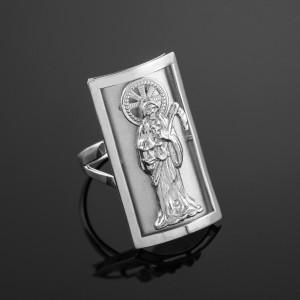 White Gold Santa Muerte Grim Reaper Fancy Ring 0.9 Inch