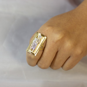 Two-tone Gold Saint Jude Fancy Ring 1.2 Inches