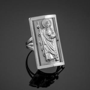 Silver Saint Jude Fancy Ring 0.9 Inch