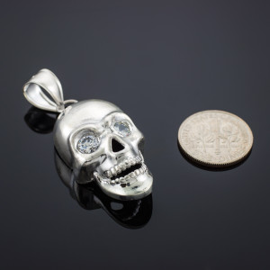 White Gold Skull Pendant with Clear CZ Eyes