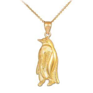 Gold Penguin Pendant Necklace