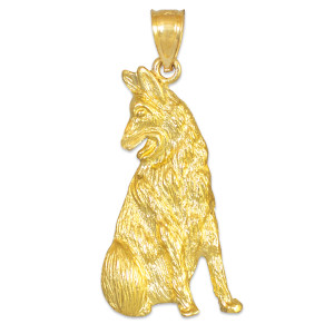 Gold German Shepherd Dog Pendant Necklace