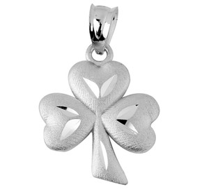 Clover Leaf Celtic White Gold Pendant