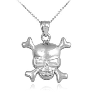 White Gold Skull and Bones Pendant Necklace