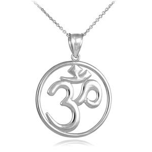 White Gold Om (Ohm) Medallion Openwork Pendant Necklace