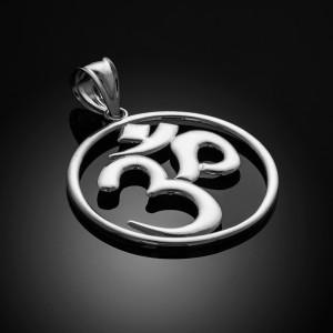 925 sterling silver om pendant